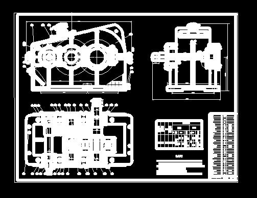 二级减速器装配图 三视图 CAD图纸下载 494.98K,dwg格式 机械CAD图纸