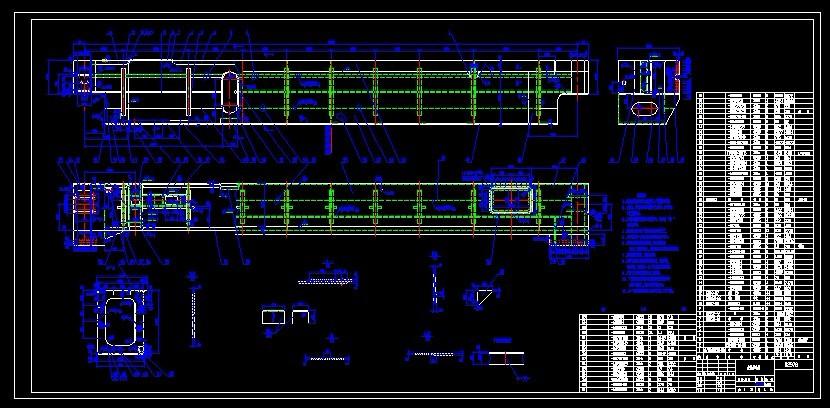 YZ125t铸造起重机主梁导电侧CAD图纸