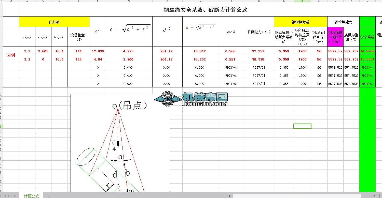 钢丝绳安全系数、破断力计算公式