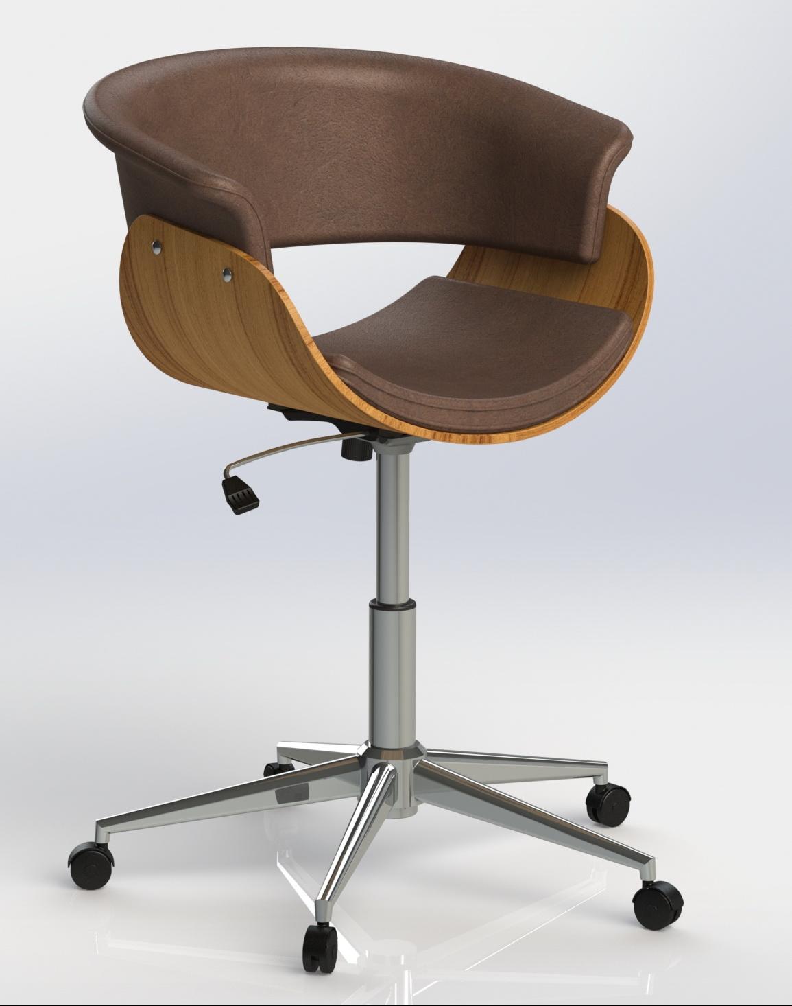 滚轮升降休闲椅子模型3D图纸 STEP格式