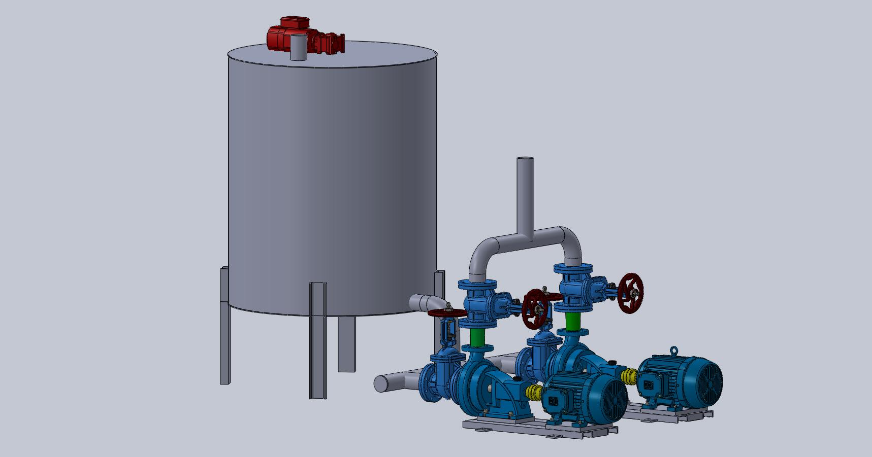 磷化氢酸罐化工储罐系统模型3D图纸 Solidworks设计