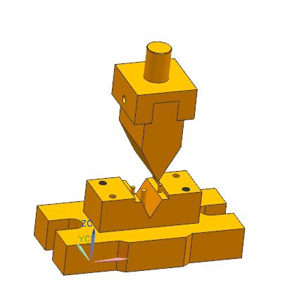 中绞链v型弯曲模具三维图