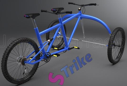 双人三轮车模型3D图纸 IGS格式