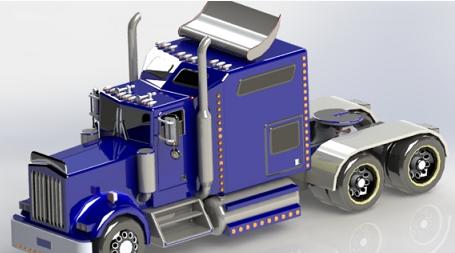 大卡车头模型3D图纸 Solidworks设计