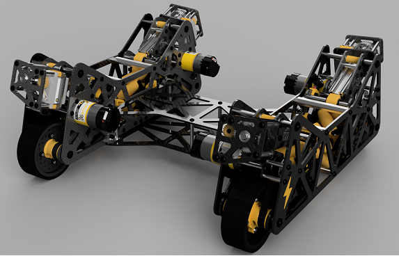 8轮碳纤维机器人车底盘3D图纸 STEP