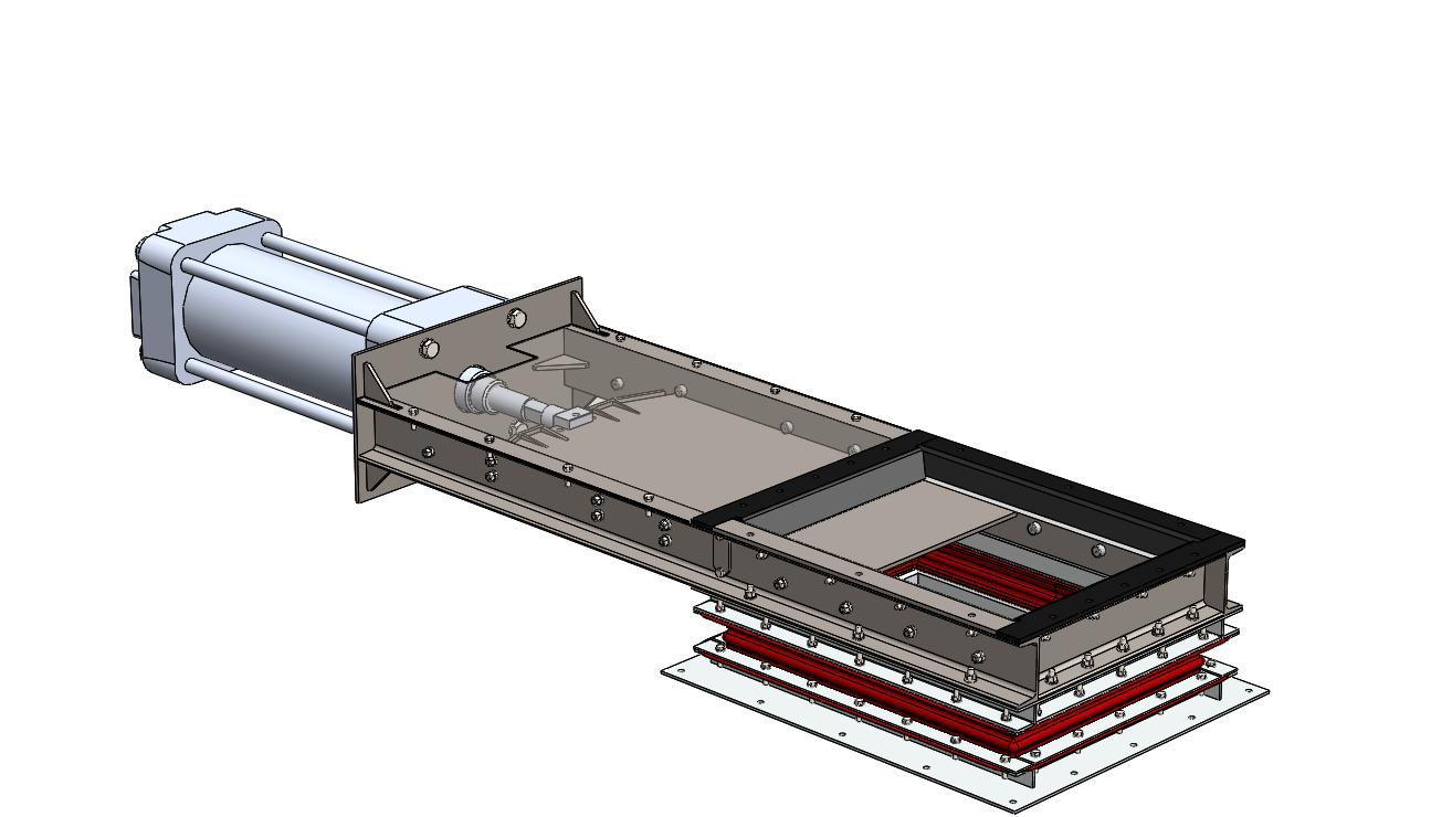 水泥厂预研磨进料闸阀液压缸开关闸门三维图模型