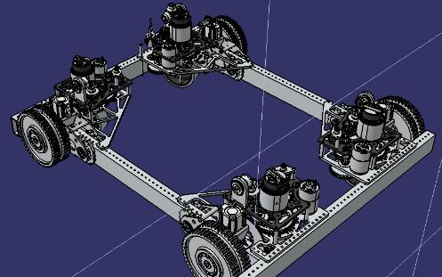 四轮小车转向机构3D图纸 STEP格式