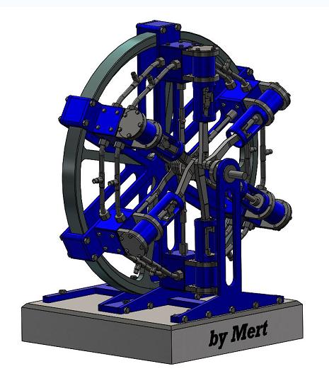 六缸径向蒸汽机结构3D图纸 Solidworks设计