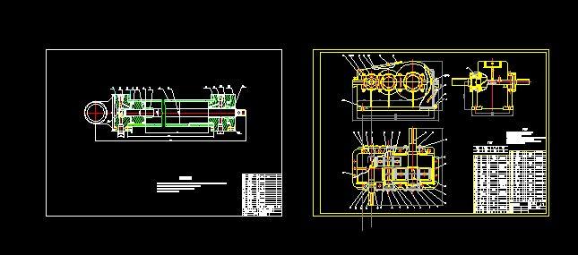 二级减速器和液压缸装配图