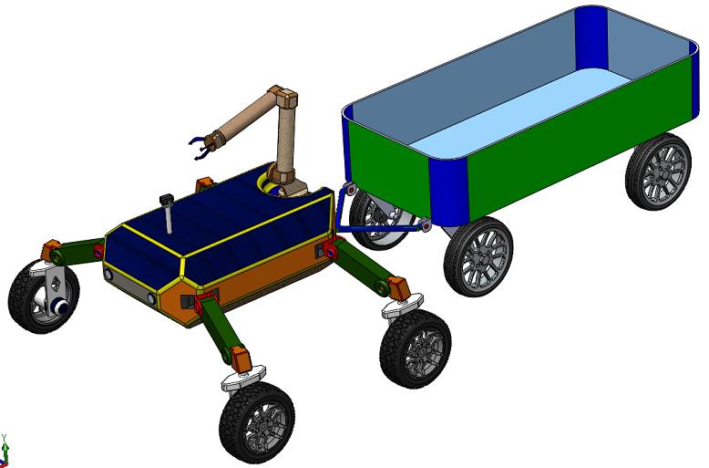 水果采摘实验机器人车3D图纸 Solidworks设计